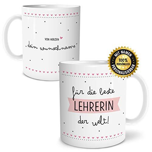 OWLBOOK Beste Lehrerin Große Kaffee-Tasse mit Spruch im Geschenkkarton Personalisiert mit Namen Geschenke Geschenkidee für Erzieher-in Abschied Abschluß