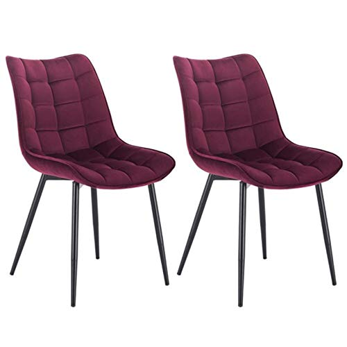 Juego de 2 sillas de comedor de piel sintética, tela, terciopelo, lino, sillas de cocina, asiento tapizado, patas de metal, muebles de cocina (color: rojo)