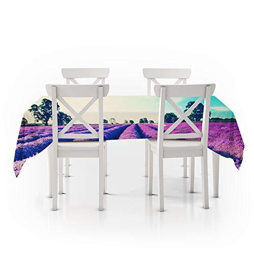 Rechthoekig tafelkleed, modern en eenvoudig, plantenbloem lavendel, duurzaam polyester stofdicht, eettafel beschermhoes, paars wasbaar tafelkleed, geschikt voor keuken