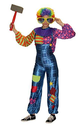 Foxxeo Clown Kostüm für Damen mit Latzhose und Buntem Oberteil - Größe S-XL - Karneval Fasching Größe M