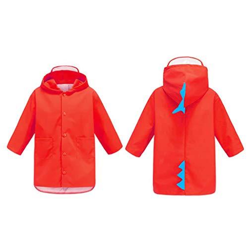 IAIZI Kinder Regenmantel Kindergarten Regenbekleidung Jungen und Mädchen kleine Dinosaurier wasserdicht Regen Poncho (Color : Red, Size : L)