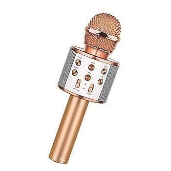 Wireless Bluetooth Karaoke Microphone,3 in 1 Portable Handheld Karaoke Mic Speaker Machine,Karaoke Machine for Kids,Home Party Singing Machine Microphone,Birthday Party,Best Gifts for Kids  Rose Gold