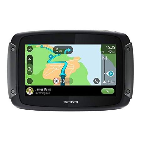 TomTom GPS Moto Rider 50 - Cartographie Europe 24, 3 Mois de Trafic et de Zones de Danger inclus, Routes Sinueuses et Vallonnées, Appel Mains-Libres, Compatible Siri et Google Now