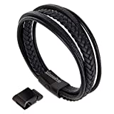 Moneekar Jewels Black Leather Cowhide Braided with Multi-Layer Wrap Double Magnetic Clasp Bracelet