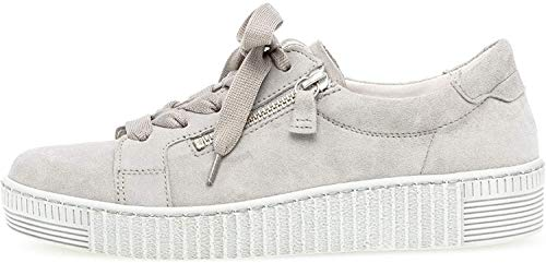 Gabor Damen Sneaker, Frauen Low-Top Sneaker,Best Fitting,Reißverschluss,Übergrößen,Optifit- Wechselfußbett, sportschuh Frauen,grau,38 EU / 5 UK