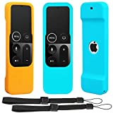 Remote Sleeve Case Compatible with Apple TV 4K 4th 5th Generation Remote Control, Pinowu Silicone Lightweight Shockproof Skin Case forTV 4K / 5th Siri Remote Control (2pcs:Orange and Turquoise)