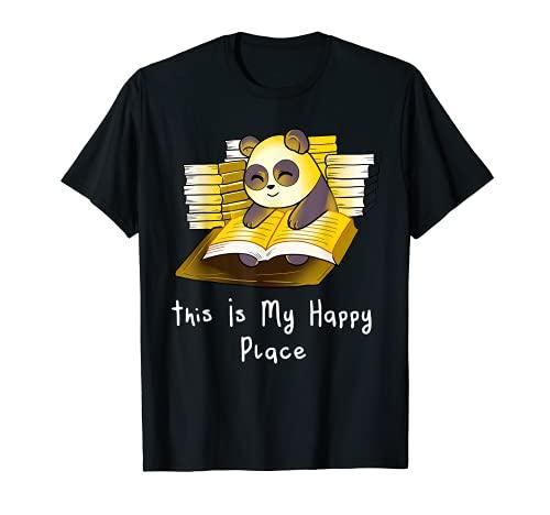Panda Bear Lecture de livres Lecteur de bibliothèque T-Shirt
