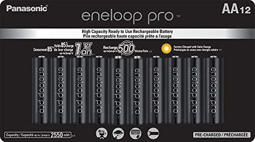 Baterias recarregáveis pré-carregadas Panasonic BK-3HCCA12FA eneloop Pro AA de alta capacidade Ni-MH, pacote com 12