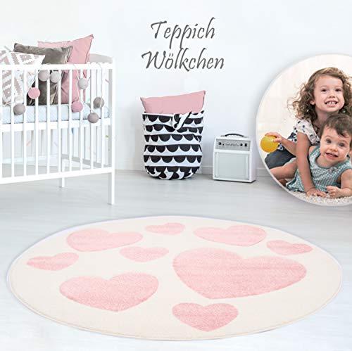 Kinder-Zimmer-Teppich mit Herz Sterne Wolken Anker Designs | rund oder rechteckig | Ideal für Jungen, Mädchen oder im Baby-Zimmer | Ökotex Zertifiziert (Herzen Creme, 150 cm rund)