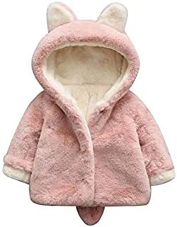 Bold N Elegant Luxury Wool Rabbit Fur Warm Winter Outerwear Hooded Baby Jacket Coat Blanket with Soft Plush Bunny Ear n Tail for Infant Toddler boy Girl Kids 1yr 2 yr