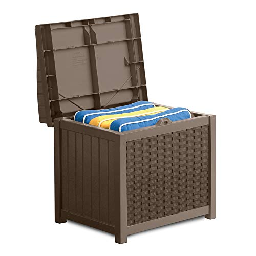 Suncast SSW1200  Premium Garden Storage Seat Box Suitable For Indoor & Outdoor Storage (83 Litre Capacity – Taupe)
