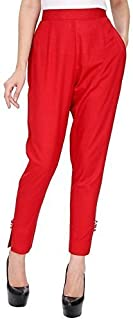 FEMEZONE Cotton/ReyonCigarette Pants with Narrow Bottom for Women & Girls,Rani Red