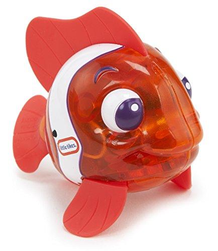 little tikes 173837GR Sparkle Bay Funkelfisch Clownfisch, Wasserspielzeug mit Leucht- und Schwimmfunktion, rot/weiß