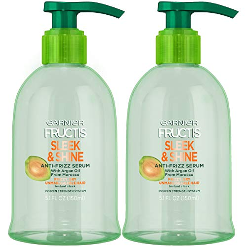 Garnier Fructis Sleek & Shine Anti-Frizz Serum for Frizzy, Dry, Unmanageable Hair, 5.1 Ounce (2 Count)