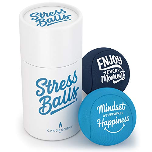 Candescent Stress Balls - Hand Therapy Relief for Anxiety, Fidget, Tension, Exercise Strengthener- Motivational Toys for Adults & Kids - Set of 2
