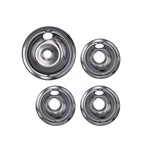 Lifetime Appliance Ultra Durable W10196405, W10196406 Chrome Drip Pans Replacement Compatible with Range Kleen 10124XZ - 3 x Small 6' + 1 x Large 8' Drip Pan
