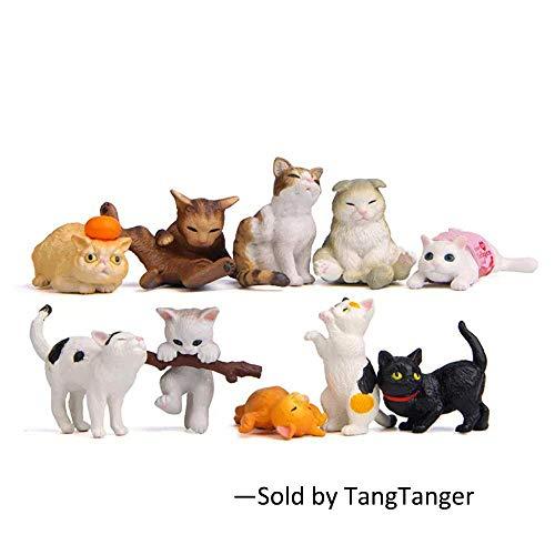 TangTanger 10 pcs (1 set) Kawaii Animal Cat Characters Toys Mini Figure Collection Playset, Cake Topper, Plant, Automobile decoration