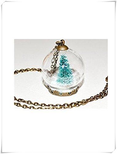 Weihnachtsbaum-Schneekugel-Halskette, Glaskugel-Anhänger, Weihnachtsschmuck, Miniatur-Weihnachtsbaum-Halskette