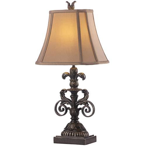 BOWCORE Tafellamp in het midden van de eeuw, moderne tafellamp van hars, geopend, in de schaduw van de trommel voor taupe woonkamer familie slaapkamer verlichting nachtkastje bureaulamp