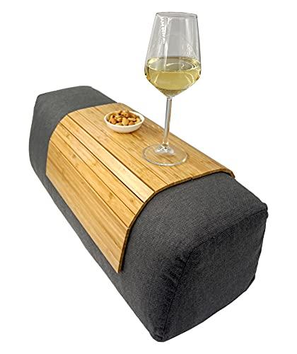 Kos Design Bambu trä soffbord/soffbord för armstöd med halkskydd. Armstödsskydd, mugghållare underlägg (ljusbrun)