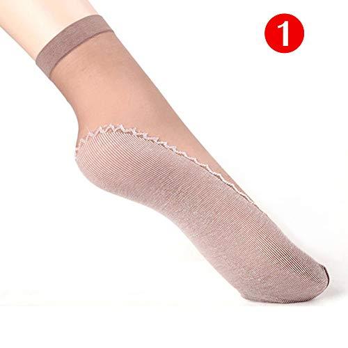 EBILUN 1 Paar Frauen Anti Slip dünne Baumwolle Knöchel hohe Schiere Strumpf Seide Socken verstärkte Zehe