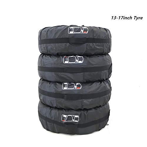 HOMPER Reifentaschen-Set, 4 Stück Reifentaschen Wasserdicht Reifen Taschen Autorädertaschen Passend für Reifentypen bis 17 Zoll Durchmesser, 210D Oxford-Stoff, Reifentasche Durchmesser 66cm