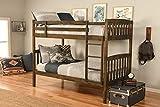 Kodiak Furniture Claire Bunk Bed, Twin, Rustic Walnut Finish