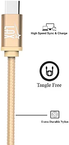 USB Type C Cable, LAX Gadgets 6 Ft (2M) Braided Cord with Reversible Connector for Google Pixel, Pixel XL, Apple MacBook, ChromeBook Pixel, Nexus 6P / 5X, LG G5, HTC 10 USB-C (6 Feet: Gold)