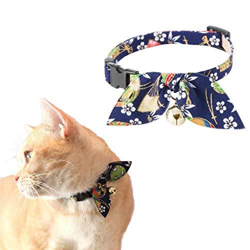 Necoichi Kimono cinta collar para gato, azul, 1 unidad, 0,04 kg