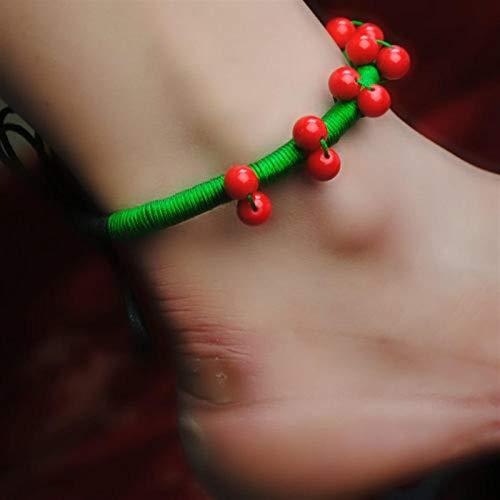 Shability Rich Étnico Estilo Tibetano Joyería Rojo Coral Y Verde Chino Seda Cuerda Anklet Original Étnico Joyería yangain