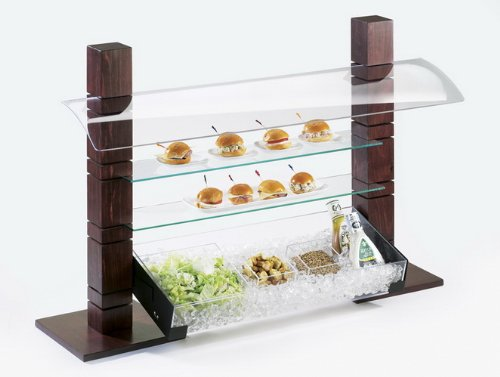 "Cal-Mil C732GLASS Rectangle Riser Shelves, Tempered Glass, 7"" Length x 32"" Width Clear"