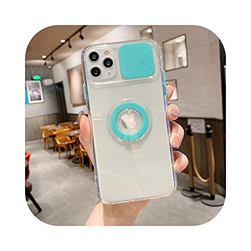 Funda de teléfono transparente para iPhone 11 12 Pro Max 7 8 Plus XR X XS MAX SE 2020 Mini soporte anillo parachoques trasero cubierta-azul cielo para iPhone Xs Max