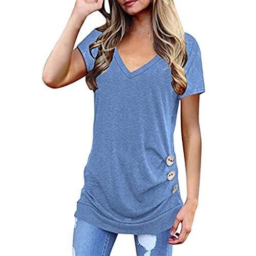 DOBEI Donna Basic Camicia T-Shirts Scollo a V Manica Corta Puro Colore Camicetta Magliette Canottiere Crop Top con Bottoni Donna Estiva Casuale Moda Cotone Taglie Forti T-Shirt Blusa Tunica Top