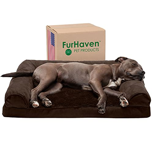 Furhaven Orthopedic Pet Bed for Dogs and Cats - Sofa-Style Plush Fur and Suede Couch Dog Bed with Removable Washable Cover, Espresso, Large
