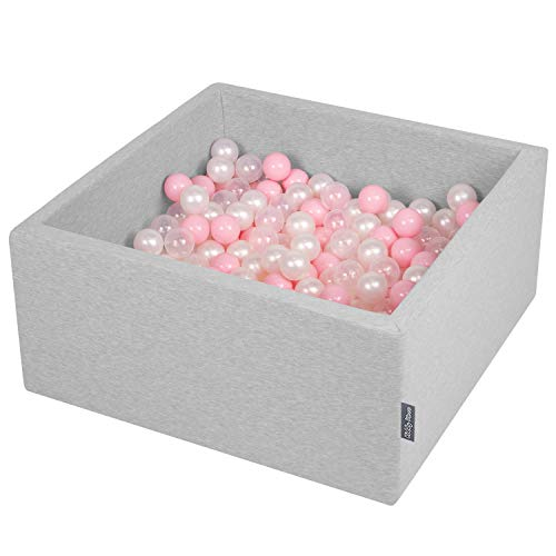 KiddyMoon Bällebad 90X40cm/200 Bälle ∅ 7Cm Bällepool Mit Bunten Bällen Für Babys Kinder Quadrat, Hellgrau:Rosa/Perle/Transparent