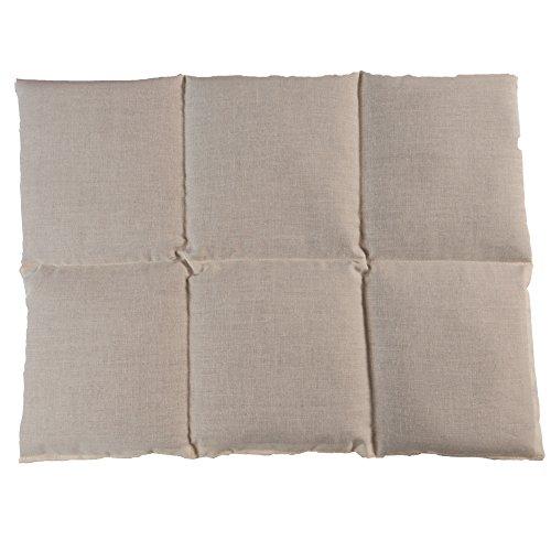 Coussin aux grains de blé et de seigle - 40x30 6 compartiments - nature - Coton Bio - Coussin thermique - Bouillotte sèche chaude ou froide