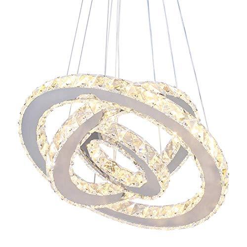 LED Moderne Kristall Kronleuchter 3 ringe LED Deckenleuchte Einstellbare Edelstahl Pendelleuchte für Schlafzimmer Wohnzimmer Esszimmer (warm)