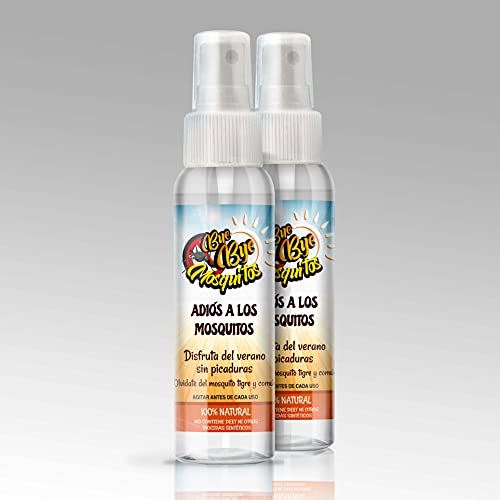 VAP FIP Pack Ahorro 2 Spray x 100ml Bye Bye Mosquitos 100% Natural- Eficaz contra El Mosquito Tigre, Eficacia y Protección contra Las Picaduras de Mosquitos   hasta 6 Horas Viaje