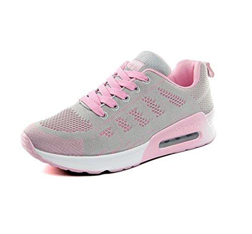 Zapatillas de Deportivos de Running para Mujer Gimnasia Ligero Sneakers Air Cushion Negro Azul Gris Blanco Gris-1 34