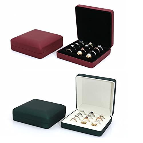 SMEJS 2 PCS Organizador de caja de joyería Cajas de regalo de joyería de cuero de PU Organizador de anillo Estuche de almacenamiento portátil Se adapta a 16 anillos Pendientes Broches y gemelos R