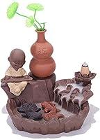 家庭用アロマディフューザー 中国のセラミック香炉は禅僧蓮の池の滝の香炉を還流しました (Color : A)