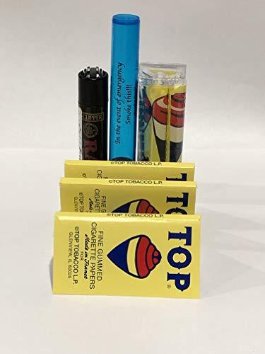 Top Cigarette Rolling Papers by DeLaCruzV (4 Packs) + Top Rolling Machine 70MM, Raw Black Clipper and Small DoobTube.