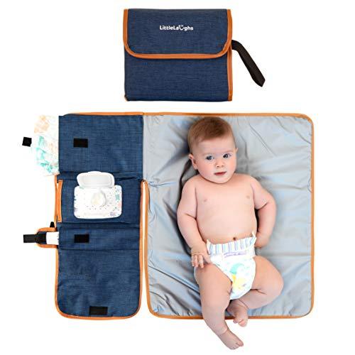Tragbare Wickelunterlage – Baby-Wickelauflage unterwegs – mit Aufbewahrungs-Taschen für Windeln, Creme, Feucht-Tücher usw. – Leicht zu Reinigen & Wasserdicht – Praktisches Babyparty-Geschenk