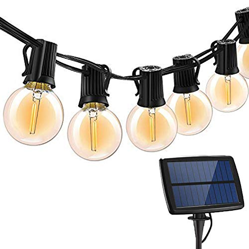 Solar Outdoor G40 Bulbs String Lights, KEEDA 18FT 10 LED Vintage Edison Bulbs with E12 Hanging Sockets, Waterproof Patio Lighting for Backyard, Garden, Bistro, Party Decor & Illumination