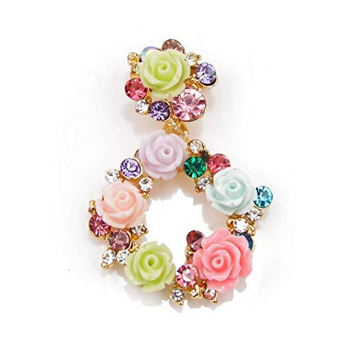 WYLYSD Broche 3 Colores Elegir Resina Flor círculo Broche Verano jardín Estilo broches para Mujeres niñas Accesorios de Vestir