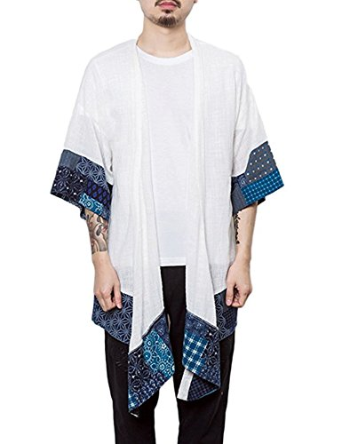 COOFANDY Men's Cardigan Long Length Lightweight Poncho Cloak Open Front Cape Coat (Large, White)