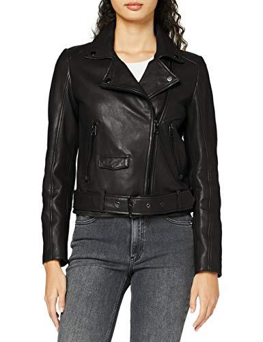 BOSS Womens Jareca Leather Jacket, Black (001), 40
