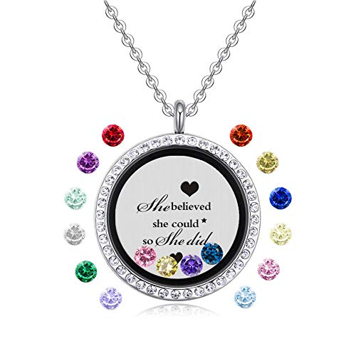 feilaiger Inspirational Words Necklace, Greetings Words Necklace, Graduation Gifts Floating Charm...
