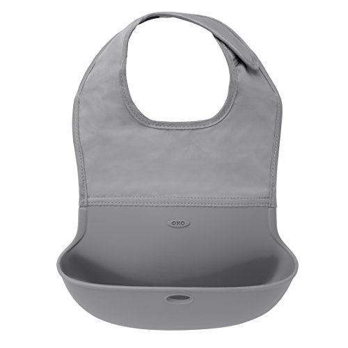 OXO Tot Waterproof Silicone Roll Up Bib with ComfortFit Fabric Neck Gray