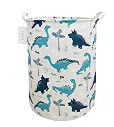 5. LEELI Collapsible Canvas Dinosaur Laundry Hamper